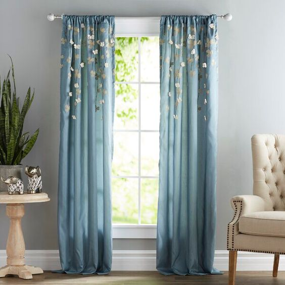 Riehl Floral Semi Sheer Single Curtain Panel In 2020 Panel Curtains Curtains Drapes Curtains