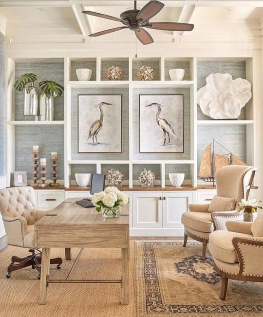 I Love Bring A Bit Of The Beach Feel Into My Home In The Summer Inspiration Home Office In Living Room Design Inspiration Design