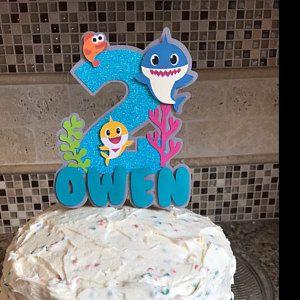 Custom Shark Cake Topper Boys Birthday Cake Topper 1st Birthday Shark Birthday Shark Party Shark Cake Topper Ocean Cake Topper