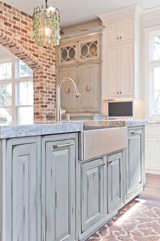 distressed blue kitchen island | Dove Studio