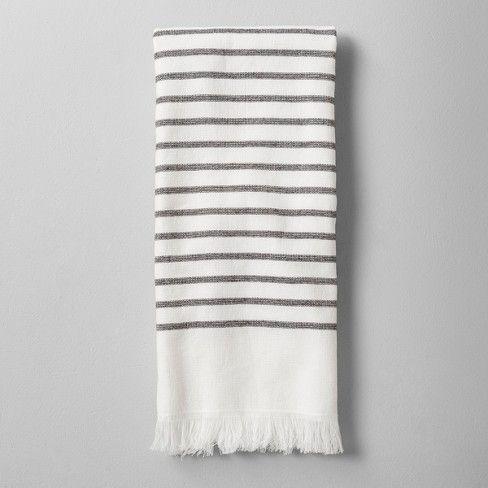 Bath Towel Striped Gray White Hearth Hand With Magnolia