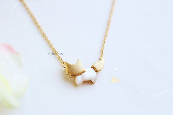 Cute Fox pendant necklace in gold Animal necklace by Brillants