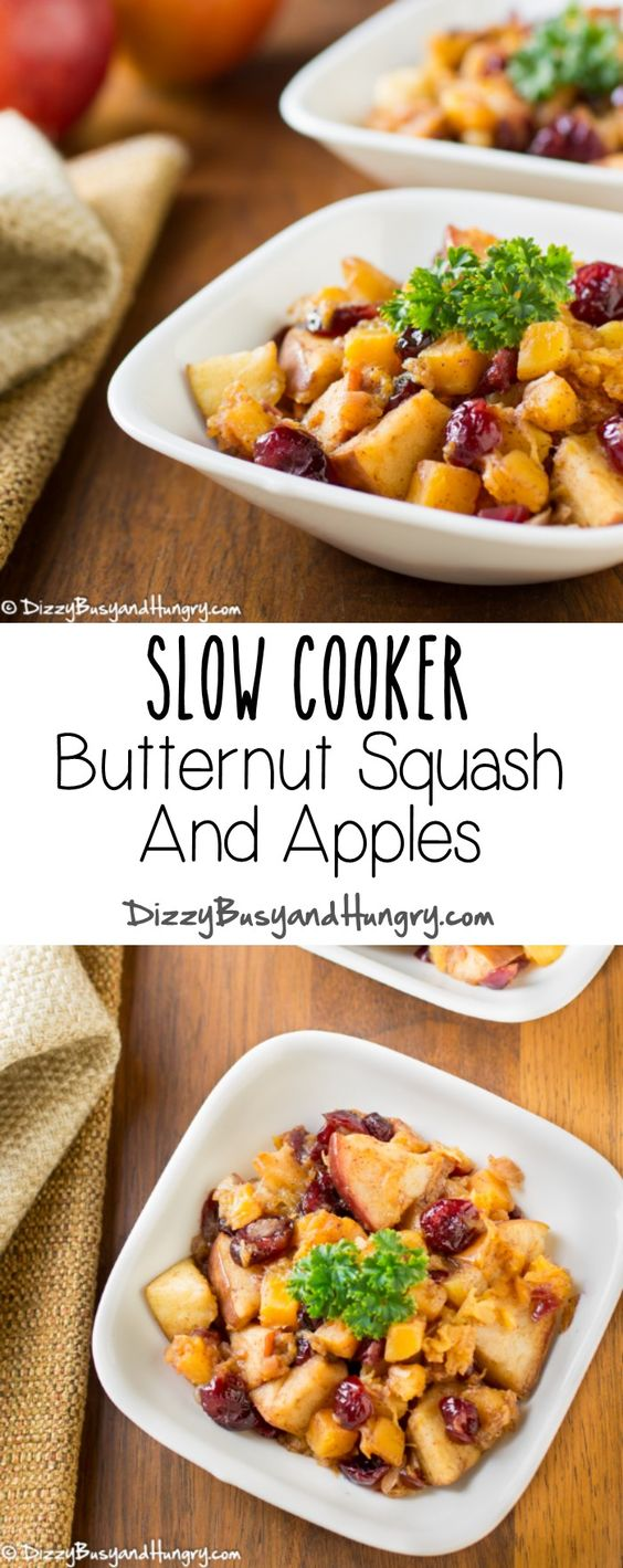 Slow Cooker Butternut Squash and Apples #SundaySupper | DizzyBusyandHungry.com - No room in your oven? That's no problem with this easy and incredibly tasty side dish!