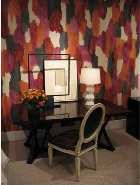 #Wallpaper, Porter Teleo is a line of hand printed, hand painted wallcovering and fabric developed by artist Kelly Porter and interior designer Bridgett Cochran.  The patterns are created by employing a variety of fine art processes, such as woodblocking, painting, and chine colle.