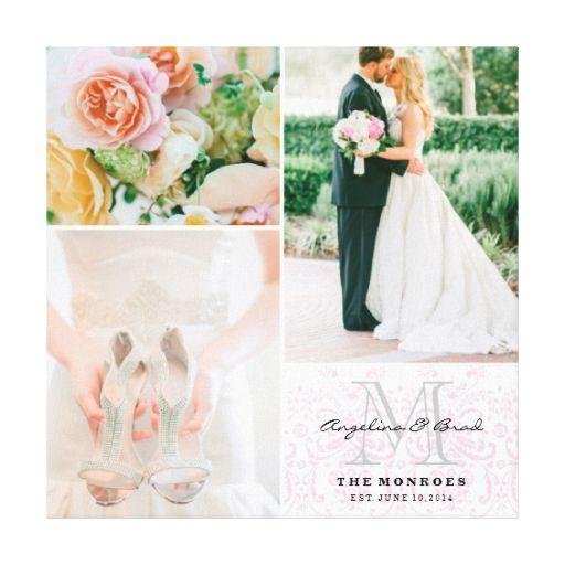 Custom Pink Damask Monogram Wedding Photo Collage Canvas Print