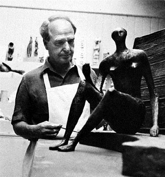 British sculptor Henry Moore (1898-1986)