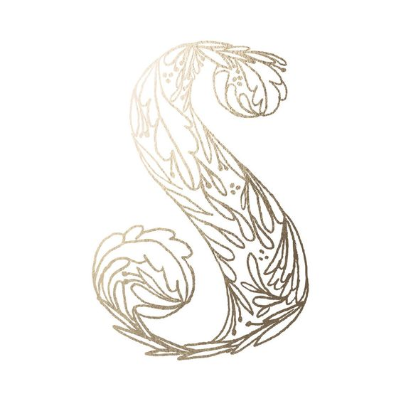 For downstairs gold foil 'Botanical S' on Minted.com