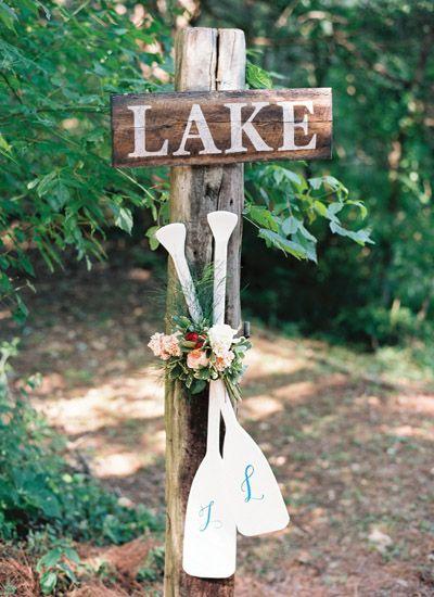 monogrammed oars for a lakeside wedding   Nancy Ray #wedding