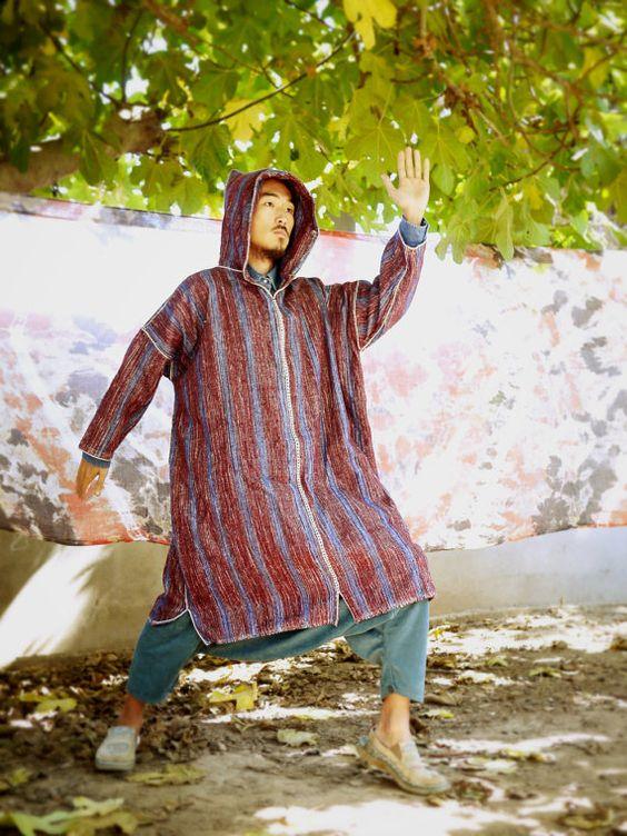 Moroccan wool cloak. Medieval cloak. Men's cloak. Jelaba. Long pullover hoodie. Bohemian gypsy coat. Tribal clothes. Moroccan Jacket.