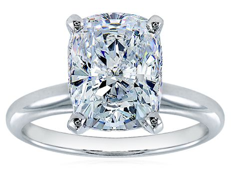 Elongated Cushion Cut Cubic Zirconia Classic Solitaire Engagement Rings available in a variety of carat sizes by Ziamond. #ziamond #cubiczirconia #elongated #cushion #rectangle #engagement #ring #solitaire