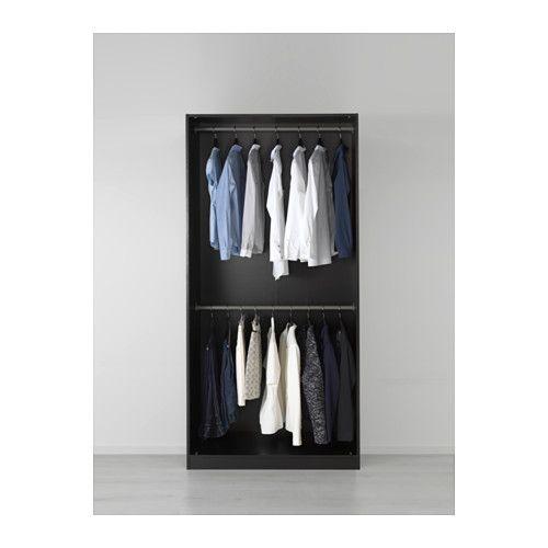 PAX Wardrobe, black-brown, Tanem white soft closing hinge 100x60x201 cm