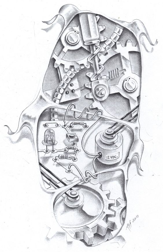 Biomechanical Tattoo Line Drawing : Biomechtronics by markfellows biomecanicos tattoo