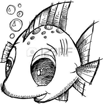 Poissons mignons Sketch Doodle Vector Illustration Art photo