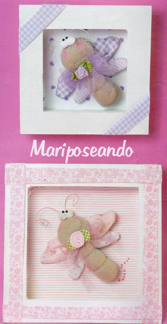 Coloridas mariposas en cuadritos para nenas, explicaciones y moldes en la página de http://grupos.emagister.com/documento/mariposas_en_cuadritos_de_madera/1009-1192905