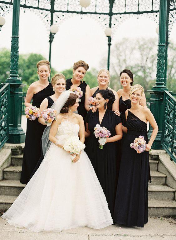 Black Mismatched Bridesmaid Dresses for Your Modern Wedding | fabmood.com