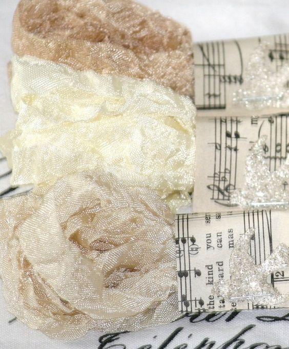 Seam Binding Ribbon 18 YARDS Aged Lace Creams by Bluebirdlane - inventory supply list