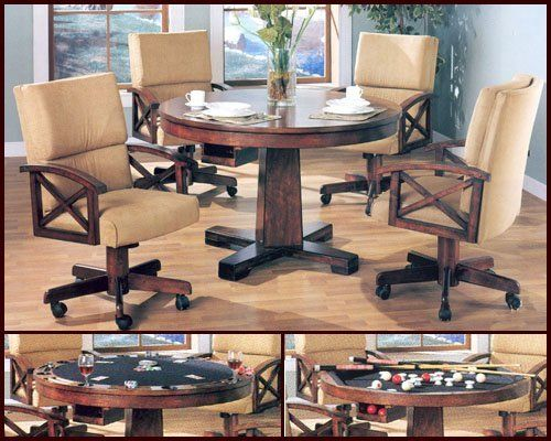 Three In One Wood Pool Poker Game 5Pc Dining Table Chairs Set By Coaster