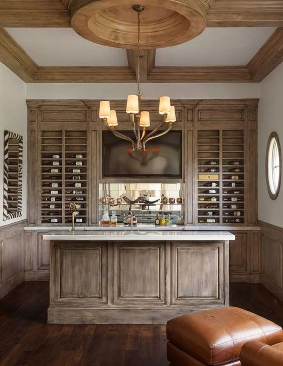 Amazing built in bar boast distressed cabinets under a - Built in bar cabinets ...