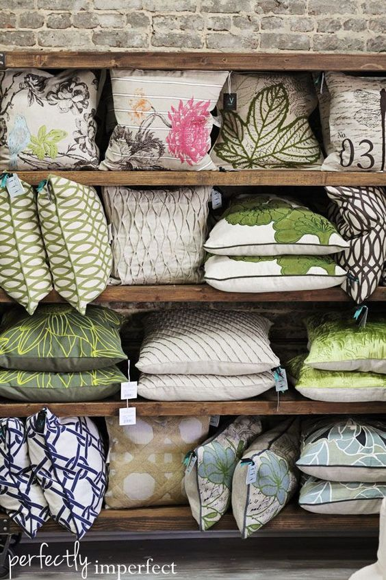 Decorative Bed Pillow Storage : shop talk : new in the shop this week! Green pillows, Pillow storage and Shops