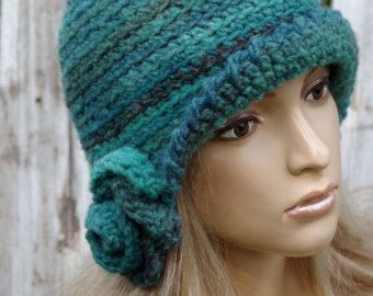 Crochet Hat - Colorful Crochet Beanie  Hat for autumn / winter , crocheted. Yarn color shaded colors of the shadows blue,pink,brown . Size .20 - 23 inches(55-59cm)  A single copy  A method for making crochet  Used materials : wool 30% , acrylic 70%  Hand wash and lay it flat to dry.