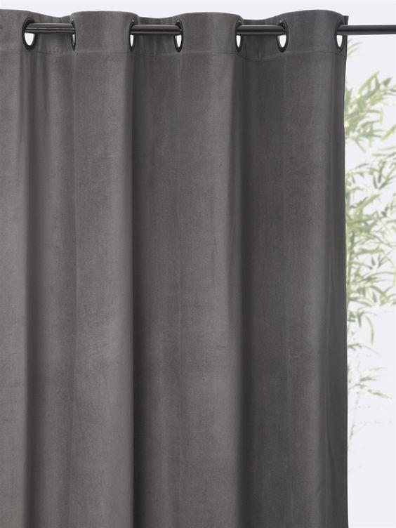 rideau velours oeillets. Black Bedroom Furniture Sets. Home Design Ideas