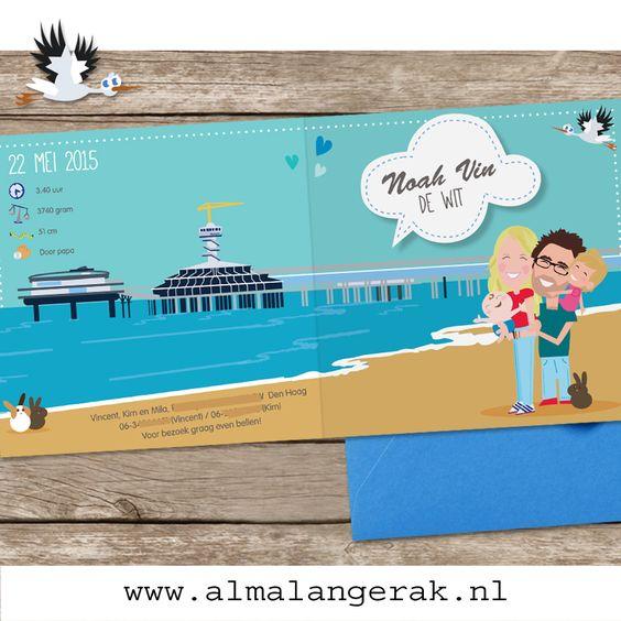 #Maatwerk #geboortekaartje #Noah Den Haag #scheveningen #pier #konijntjes #zee #strand #geboortekaartjes #konijn #cartoon