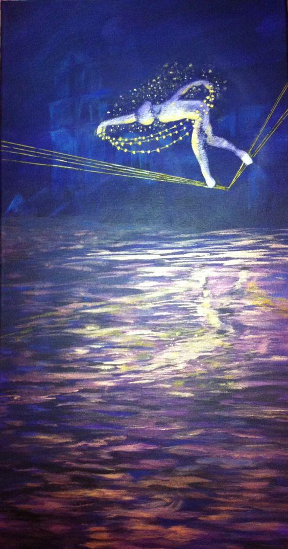 Peinture moderne paysage fantastique@Lumeline-BLL funambule porteur d'étoiles : Peintures par lumeline-bll