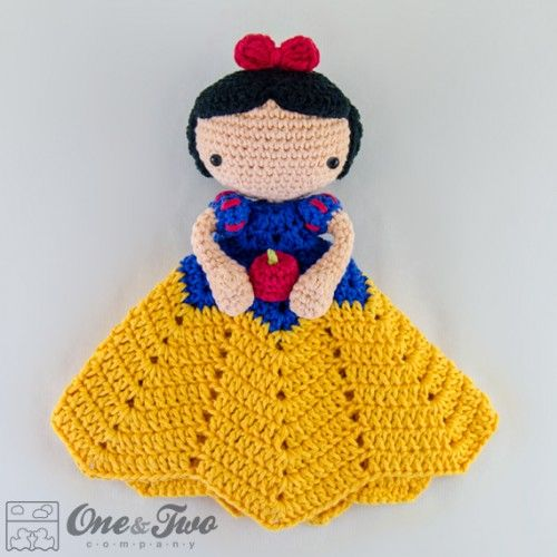 Crochet Pattern For Doll Blanket : Snow White Lovey Security Blanket Crochet Pattern ...