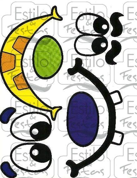 Cartela de Adesivos para Balões - Caras e Bocas 2