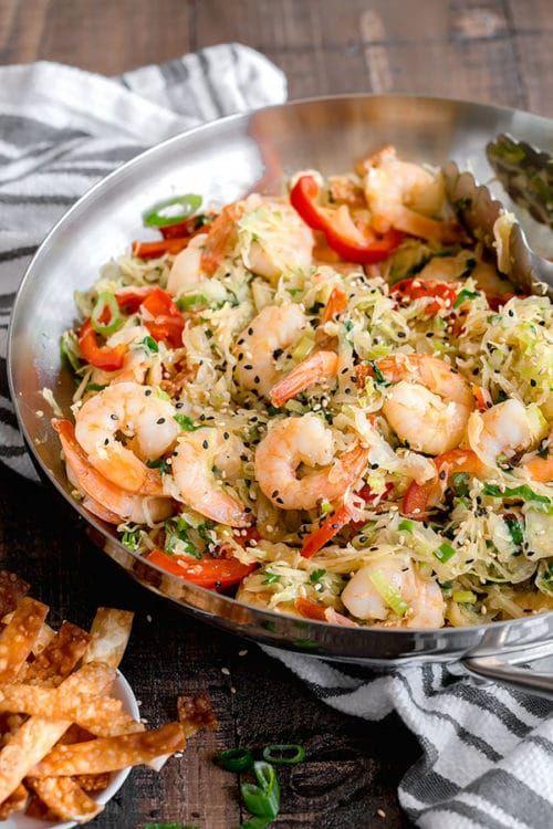 One Skillet Shrimp and Cabbage Stir Fry