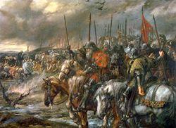 Bataille d'Azincourt : le matin, précédant la bataille, peinture de Sir John Gilbert- Face à la supériorité en nombre de son adversaire français, Henri V fait des propositions d'armistice qui sont repoussées. Il profite alors des mauvaises positions françaises et a l'audace d'attaquer: les chevaliers français sont anéantis en moins désastre. En quelques mois Henri V agrandit son territoire de toute la partie N-O du royaume de France