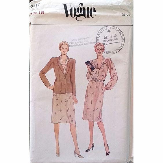 Misses Dress Jacket Vogue 7817 Pattern Vintage 1980s Size 18 Retro c1316 #Vogue