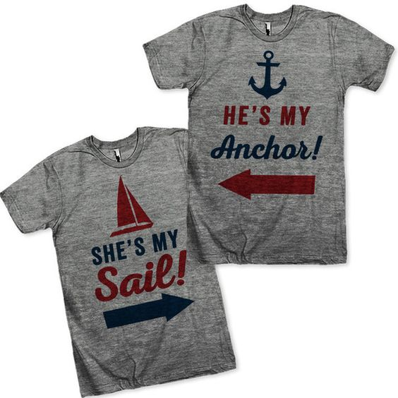 He's My Anchor She's My Sail Matching Couples Shirts ($55) ❤ liked on Polyvore featuring tops, t-shirts, silver, women's clothing, loose fitting t shirts, loose shirts, loose t shirt, loose tee and vintage t shirts