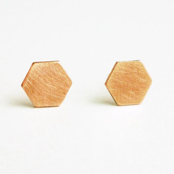 Large Hexagon Copper Stud Earrings Bridesmaid Gift. Modern Minimal Jewelry,Gift under 15 - Stainless Steel Posts or Sterling Silver Posts
