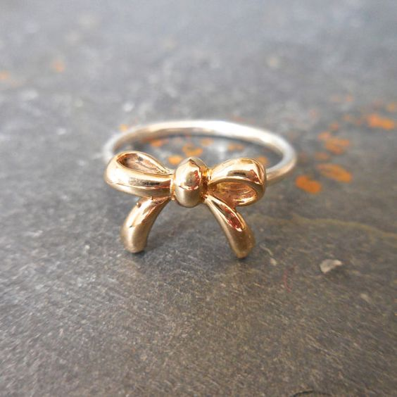 Gold Bow Stacking Ring 14 kt Recycled Gold by JewelLUXE on Etsy