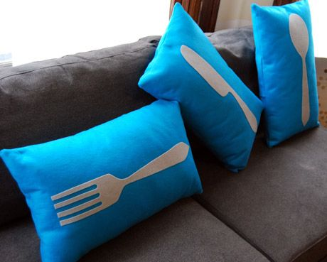 Utensil silhouettes cut from flocked iron on.  So easy with a Silhouette! Would love to have these in the kitchen!