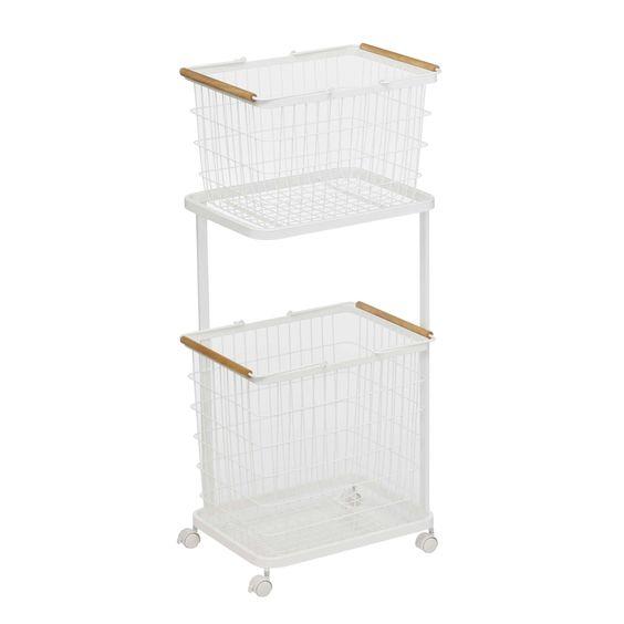 Tosca Laundry Basket M L Set With Steel Wagon Yamazaki Home