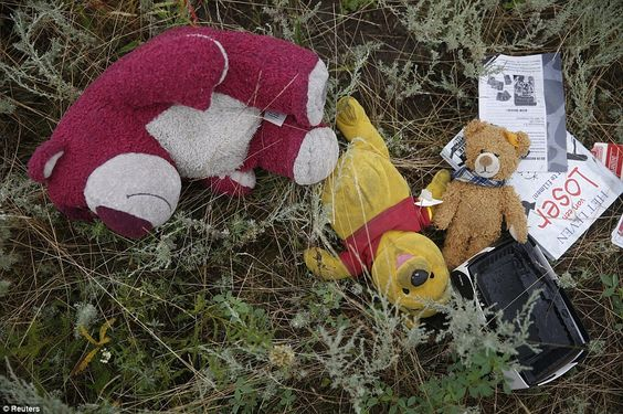 Toys in a field: Passengers' belongings, including stuffed animals, are pictured at the cr...
