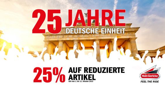 Deutschland feiert 25 Jahre Wiedervereinigung und wird von uns beschenkt.  Bis zum 11.10.2015 erhaltet ihr zusätzlich 25% Rabatt auf bereits reduzierte Artikel. Der Rabatt wird im Warenkorb abgezogen. Egal ob Nord, Süd, Ost oder West bei diesen Angeboten muss man einfach in Feierlaune kommen.  Jetzt sparen!