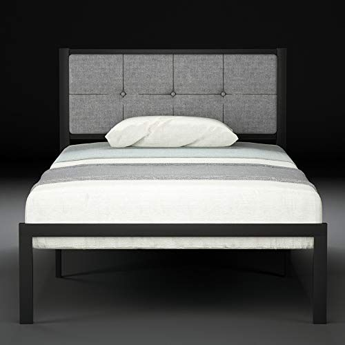 Urest Twin Bed Frame Upholstered Button Tufted Square Stitch With