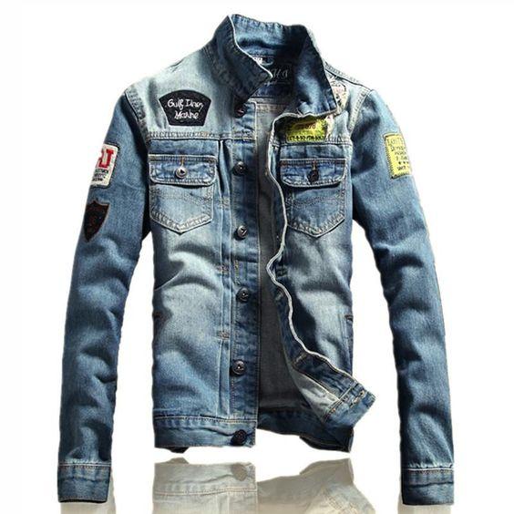 Solid Casual Slim fits Men's Denim Jacket Letter M-5XL Bomber Jacket High Quality Cowboy male Jean Jacket Coat