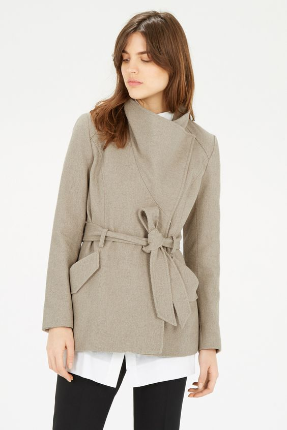 Clothing | Cream Short Asymmetric Belted Coat | Warehouse