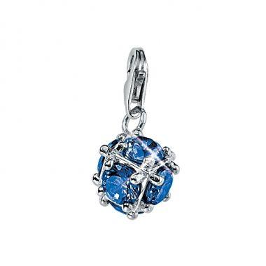 """Charm """"Kugel"""" blau aus Silber mit Zirkonia von s.Oliver"""