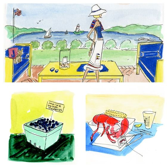 Summer fun in Maine, illustration by pve design