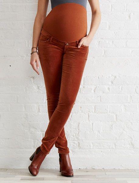 Pantalón slim de terciopelo stretch de embarazo entrep. 82 cm AZUL TINTA+MARRÓN CLARO