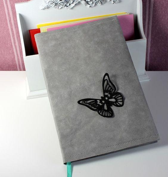 """Notizbuchhülle mit Schmetterling """"veganes Leder"""" von FrlBetty  auf DaWanda.com"""