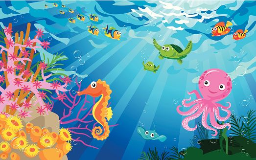 Underwater Scene With Sea Life Vector Art | Getty Images ...