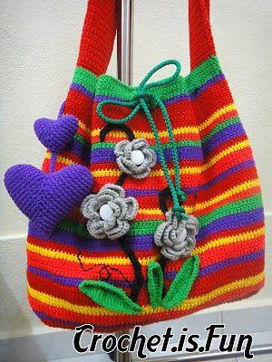 Pure Pinspiration! Crochet.is.Fun: rainbow sling bag~. ☀CQ #crochet #crochetflowers http://www.pinterest.com/CoronaQueen/crochet-leaves-and-flowers-corona/
