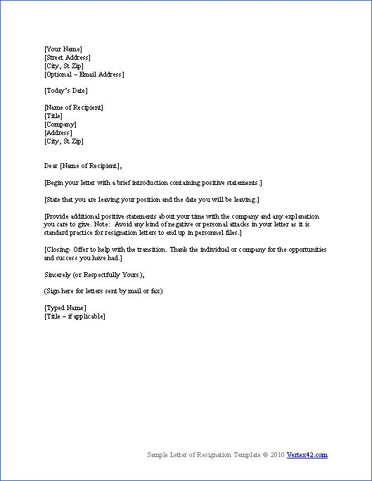 Printable Sample Letter of Resignation Form Free Basic Template - letter of resignation template