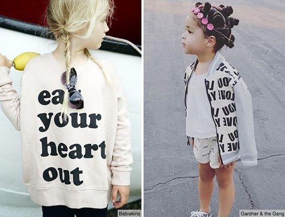 Tendência para os pequenos! Frases com letras em tamanho maior, são uma ótima aposta de estampa para os casacos e camisetas das crianças. #wgsntrends